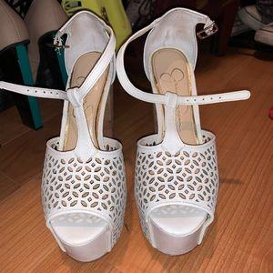 White Jessica Simpson Dany heels